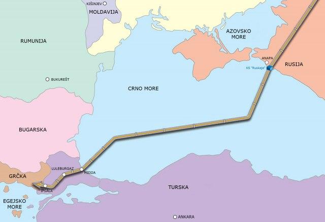 mapa gasovoda turski tok