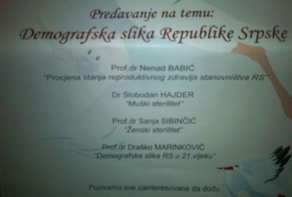 udruzenje bebe predavanje demografska slika republike srpske