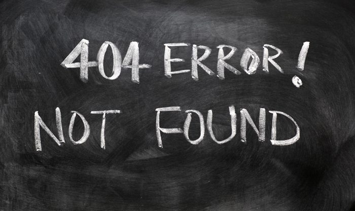 404 error of not found